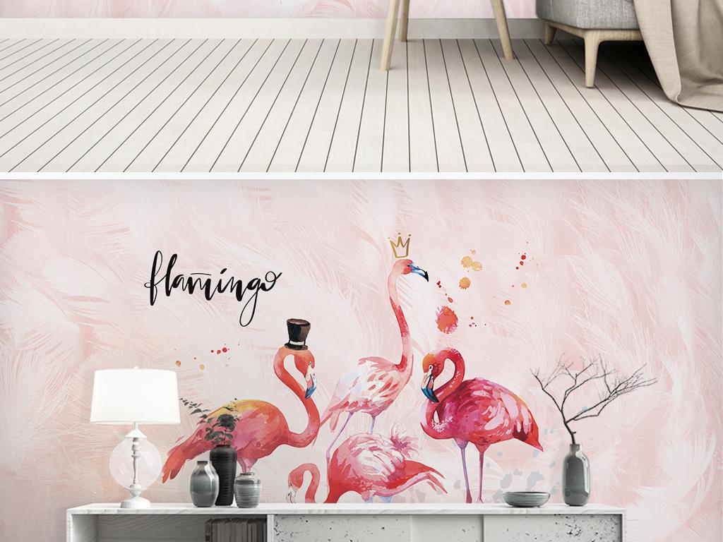 北欧ins粉色火烈鸟儿童房背景墙图片设计素材 高清模板下载 122.07