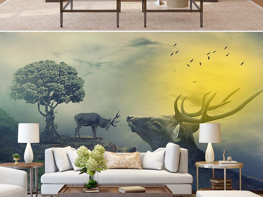 简约北欧森林麋鹿抽象树林背景墙壁画