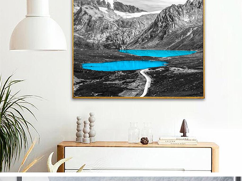 北欧简约黑白唯美抽象风景欧式装饰无框画