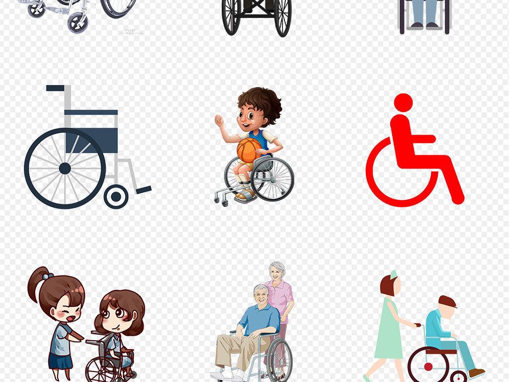 医疗器械轮椅素材可爱卡通素材海报坐轮椅淘宝