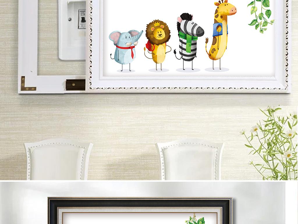 手绘清新ins绿植动物电表箱装饰画挂毯画图片设计素材 高清模板下载 17.68MB 电表箱装饰画大全