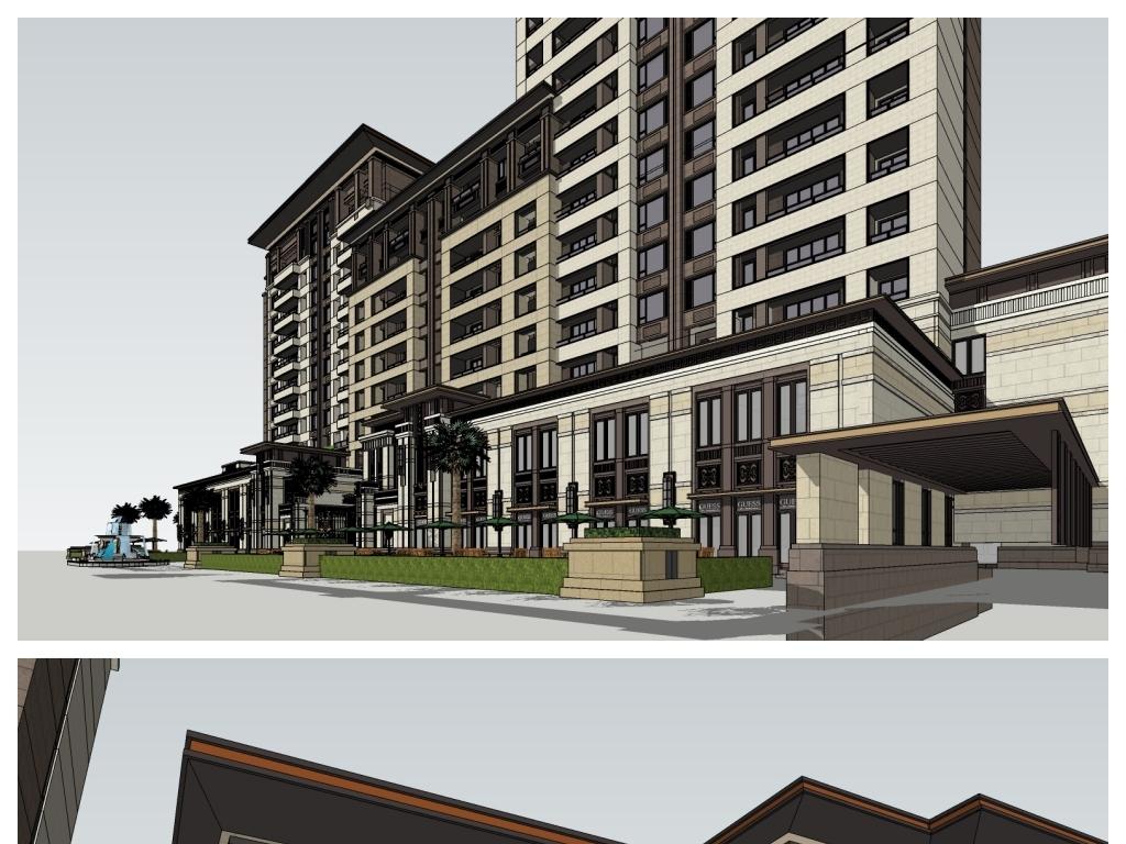 新中式新古典高层住宅底商沿街商业建筑模型设计图(19
