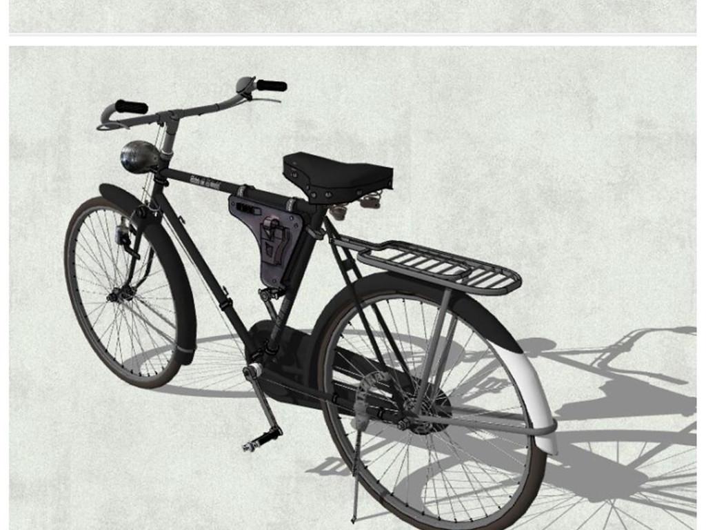 精品自行车山地自行车共享单车su模型