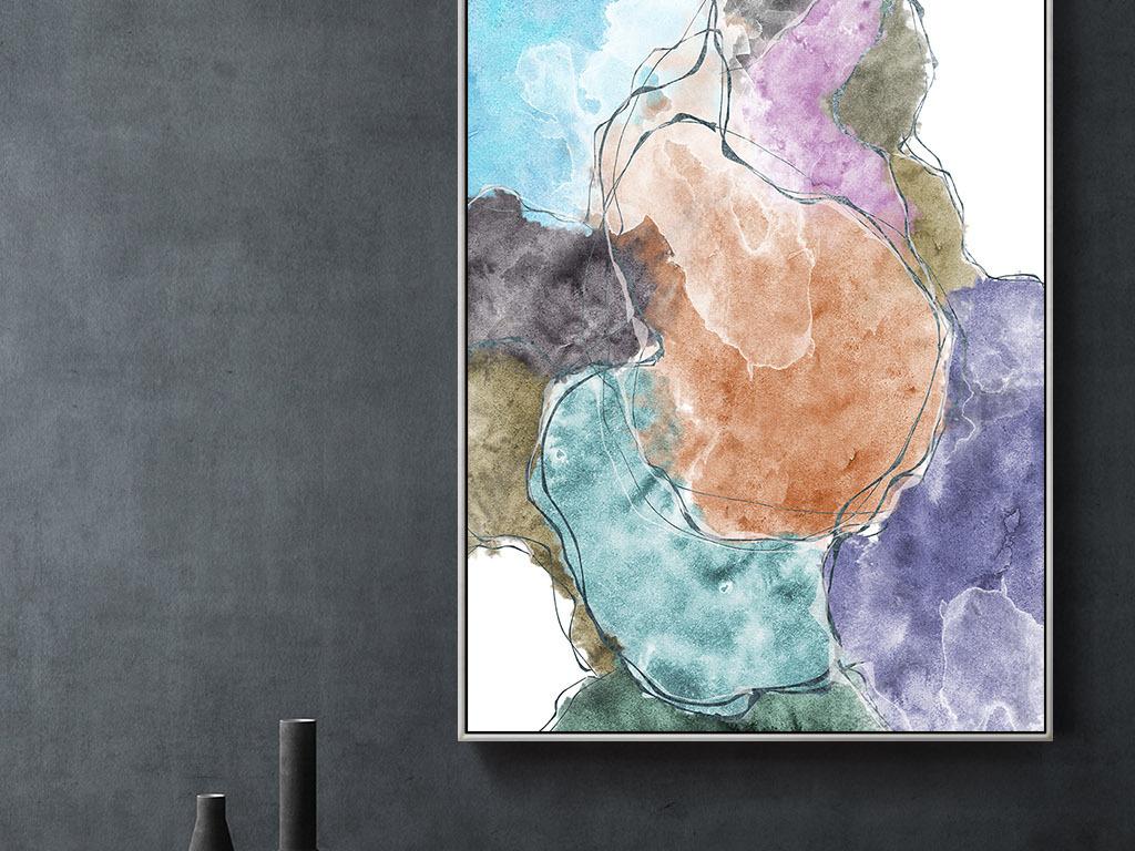 我图网提供独家原创北欧创意手绘水彩色块拼接艺术