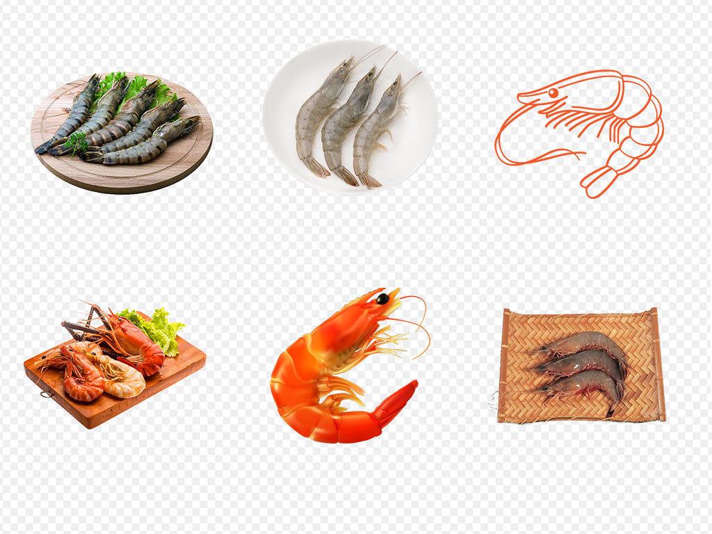 虾肉生鲜虾美食美食海报手绘虾基围虾红虾火锅食材