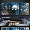 新中式抽象花卉花鸟晶瓷画装饰画无框画