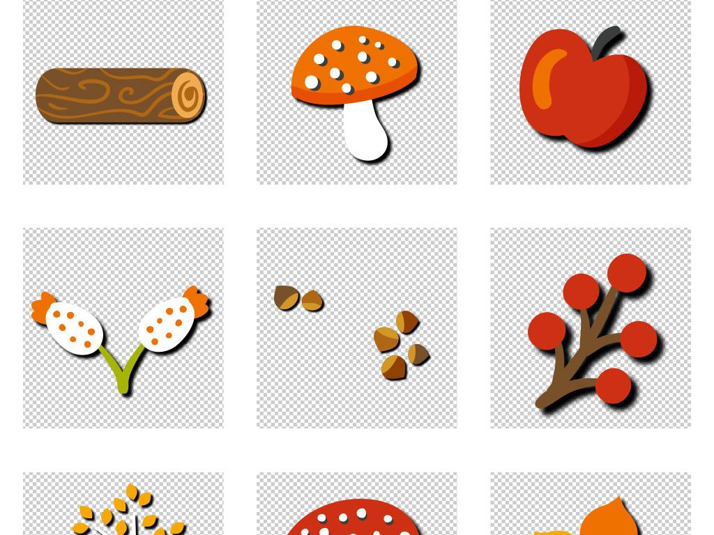 手绘卡通动物秋天插画素材秋季元素png免抠