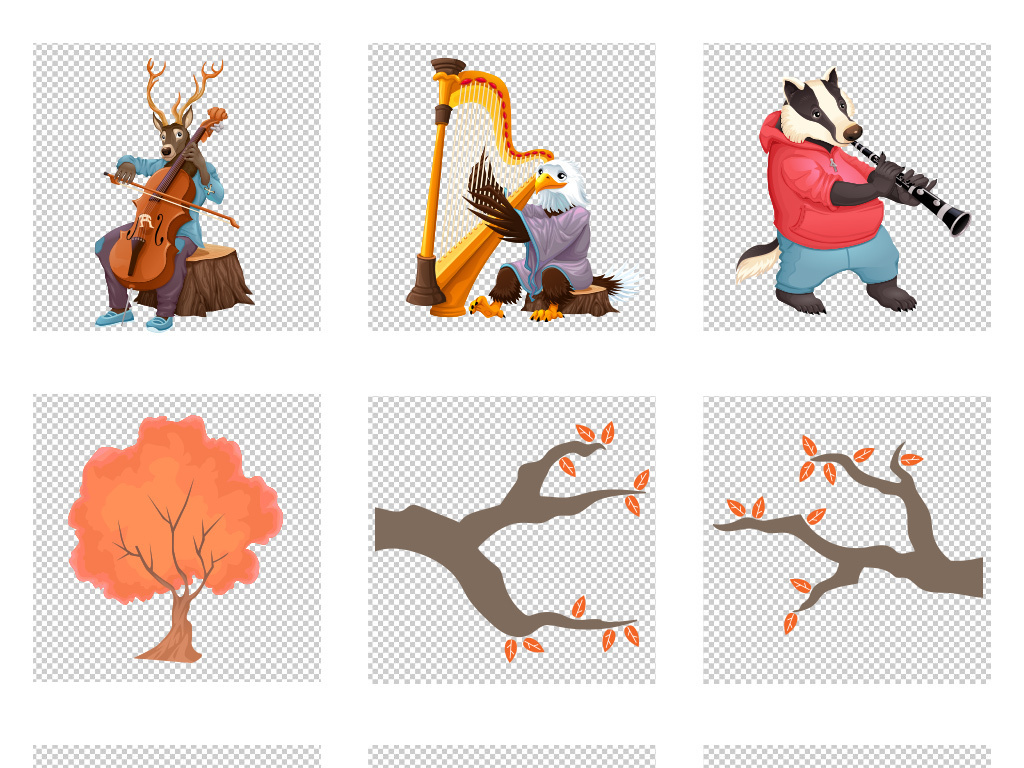 秋季插画动物手绘秋天叶子png素材