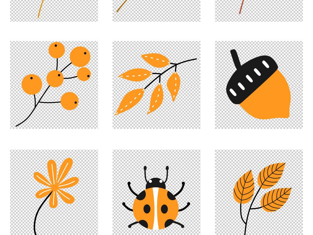 扁平小清新秋天叶子动物插画png免抠素材