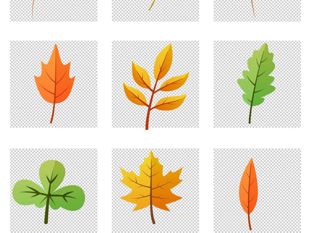 卡通扁平小清新动物枝叶落叶秋季插画png素材图片