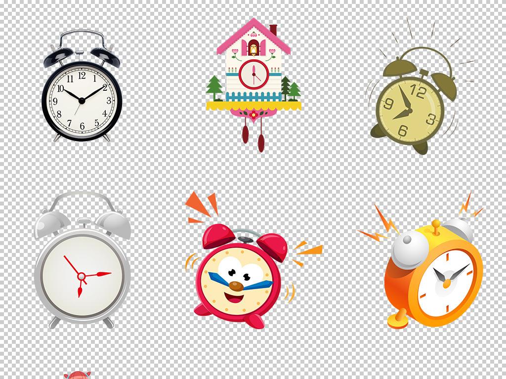 卡通手绘儿童闹钟时钟钟表png透明免抠图图片素材_(14