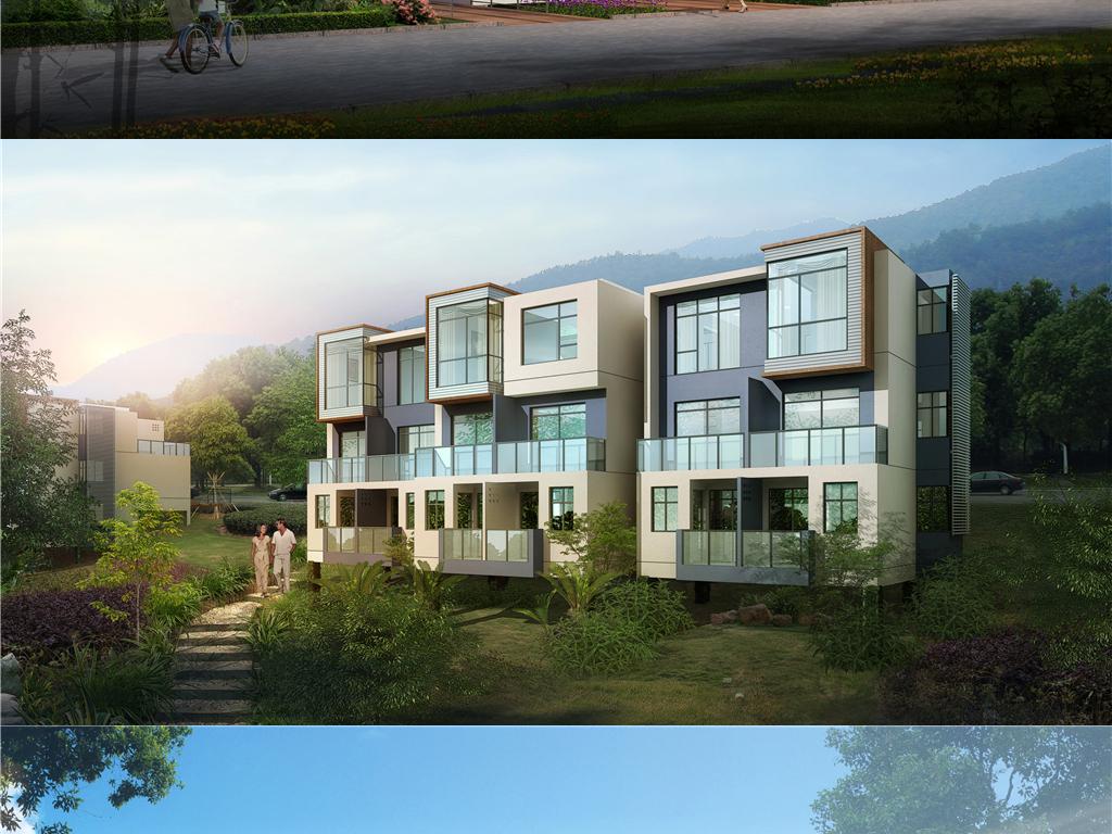 三层联排别墅住宅su模型cad图纸效果图