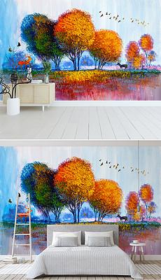 麋鹿森林背景墙飞鸟手绘油画-北欧风背景图片素材 原创北欧风背景设