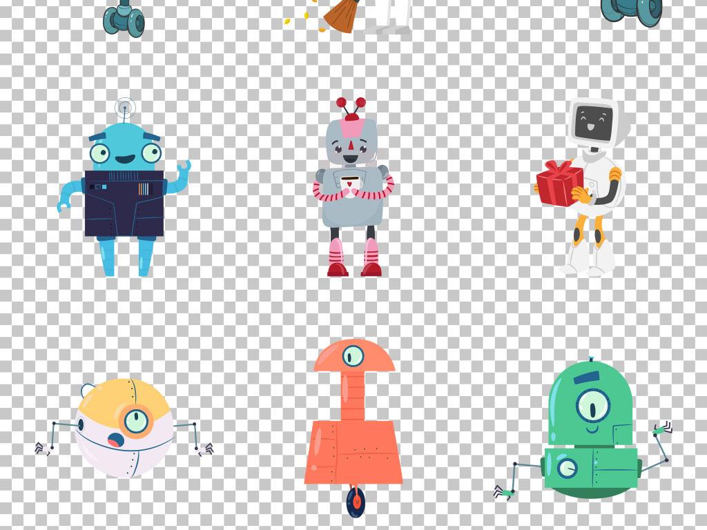 创意智能科技手绘卡通机器人免抠png素材