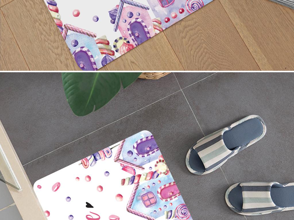 ins小清新糖果城堡地垫防滑垫地毯图片设计素材 高清模板下载 18.02MB 卡通大全