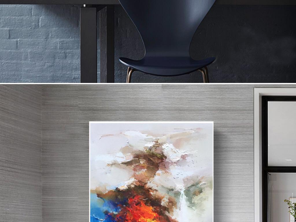 晶瓷画山水风景油画抽象画玄关客厅金山油画