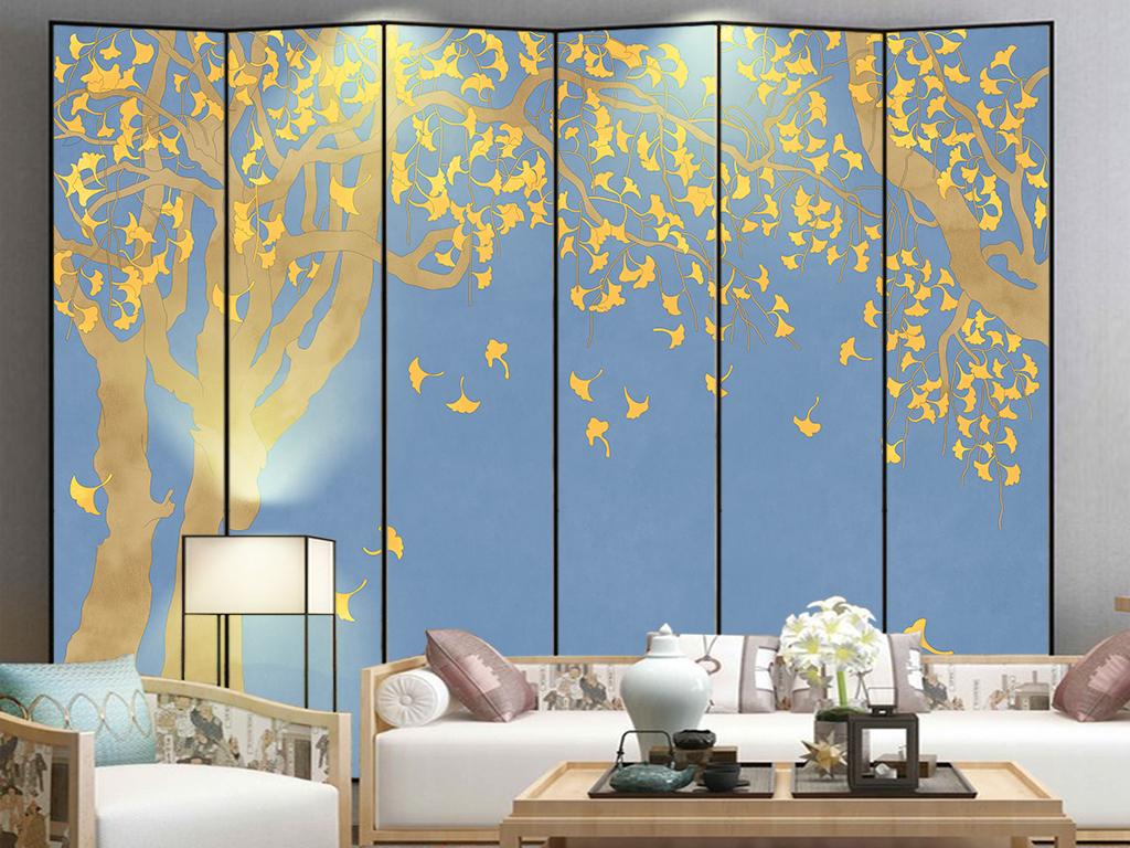 现代简约新中式手绘银杏叶壁画背景墙装饰画