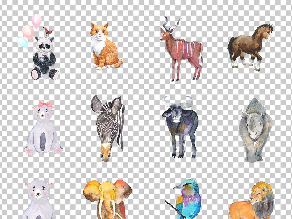 01336手绘彩绘可爱小动物野生动物卡通萌萌动物素材免