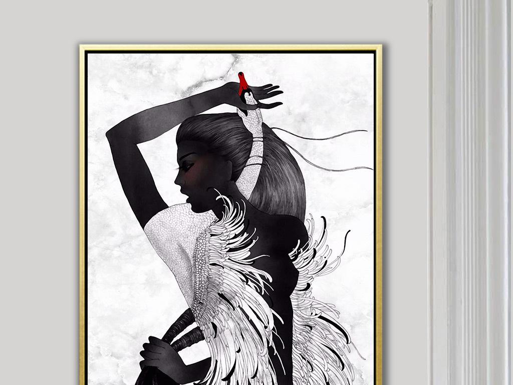 北欧简约手绘创意黑白性感美女天鹅玄关背景墙装饰画