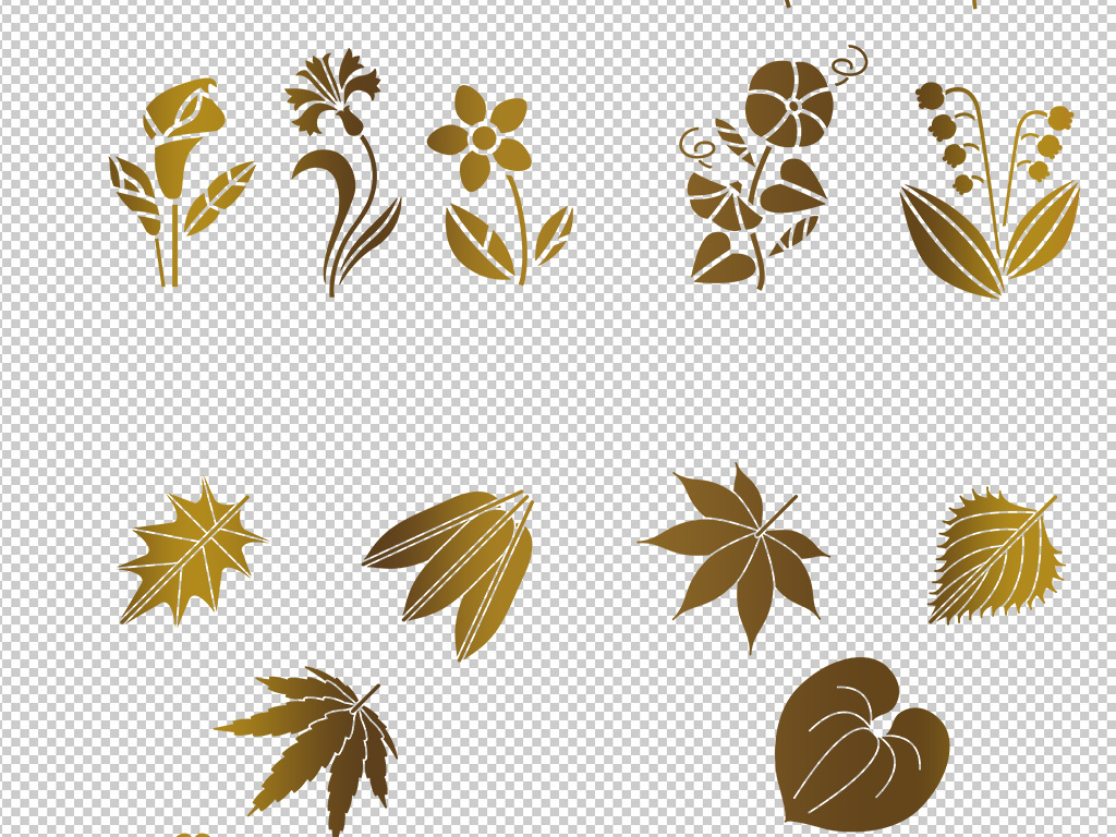 森林系北欧热带雨林手绘水彩树叶绿植插画