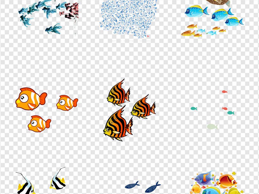 水族馆鱼群海洋生物卡通手绘海报png素材