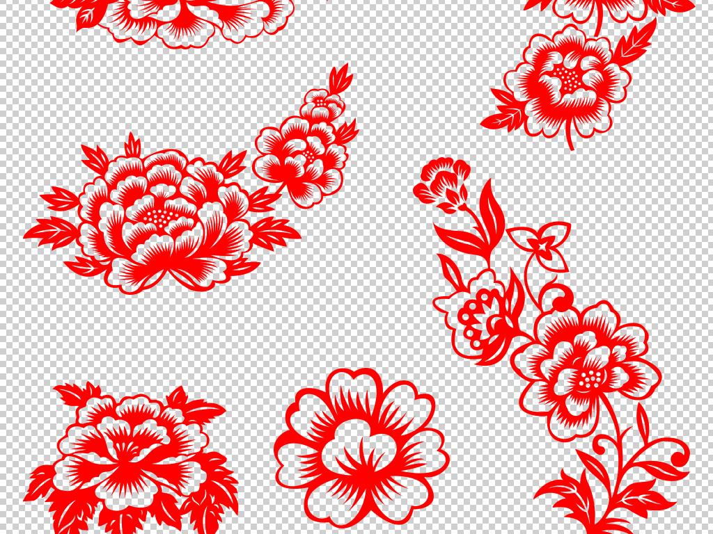 中国风牡丹花剪纸传统工艺品民间传统剪纸