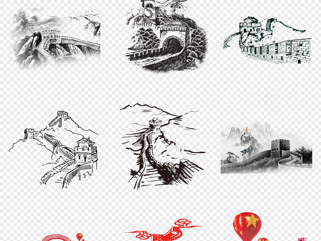 卡通手绘北京长城旅游景点海报素材背景图片png