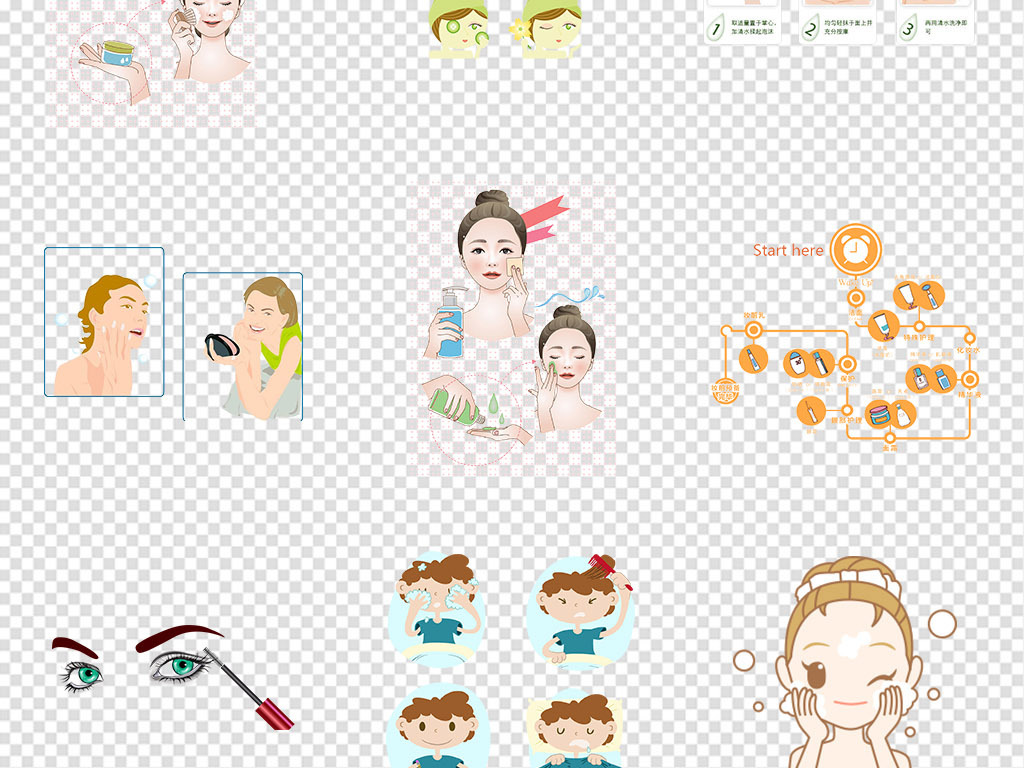 卡通手绘化妆美妆步骤流程护肤png素材