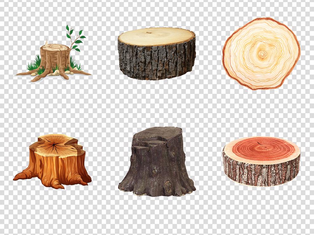 保护森林卡通手绘原始砍伐树桩海报png