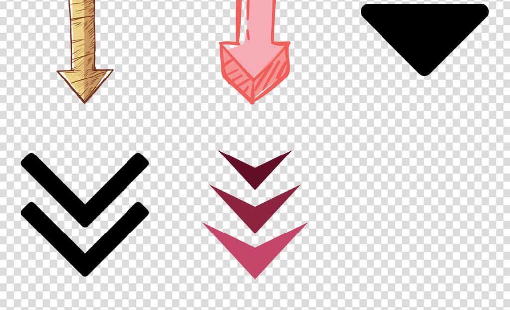 免抠元素 标志丨符号 箭头 > 手绘商务向下箭头数据下降ppt元素  素材