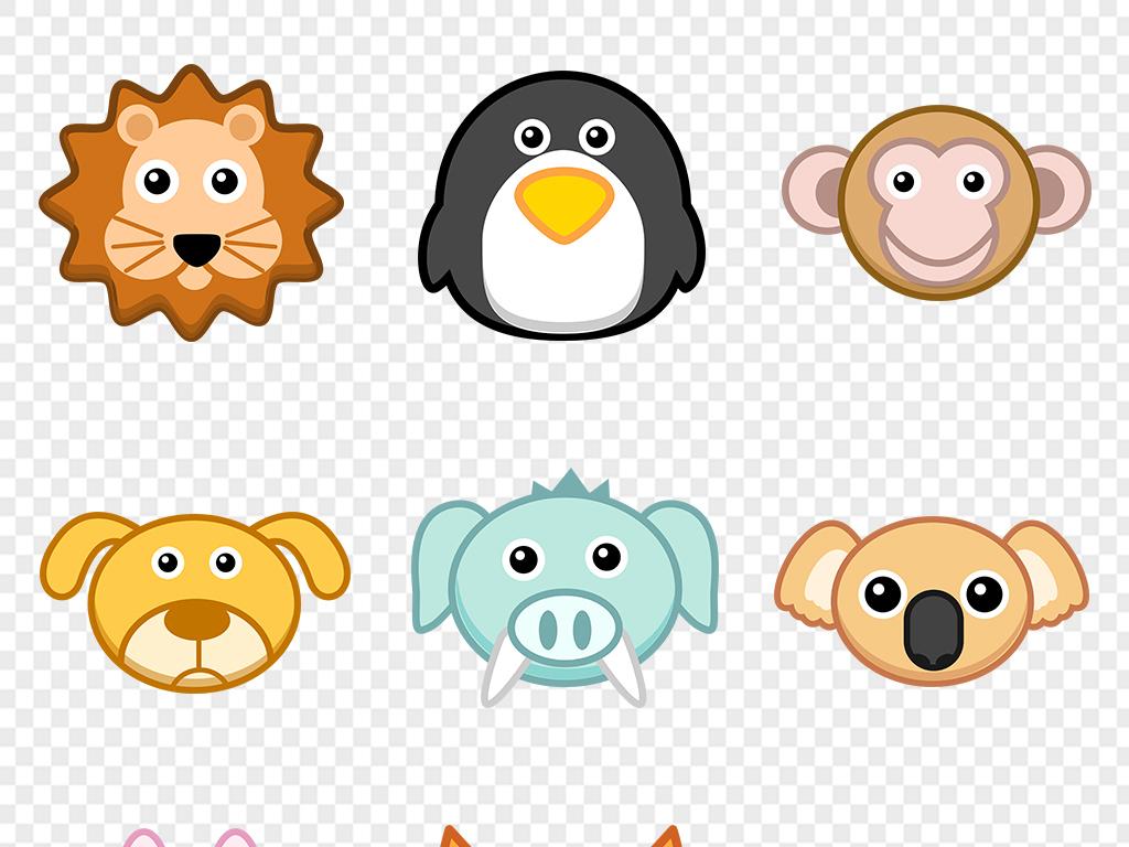 手绘卡通动物头像图案婴儿童服装图案熊猫猴子鹦鹉青蛙
