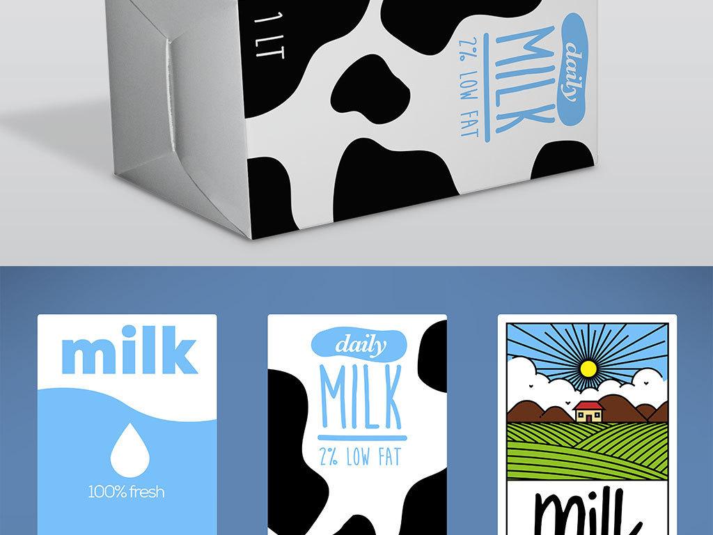 手绘卡通新鲜牛奶纸盒包装盒设计模板