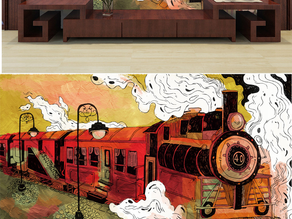 背景墙 电视背景墙 手绘电视背景墙 > 手绘火车烟雾路灯  素材图片