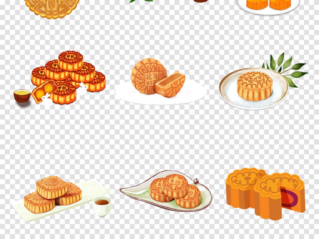 卡通手绘月饼糕点礼品中秋节海报png免扣素材