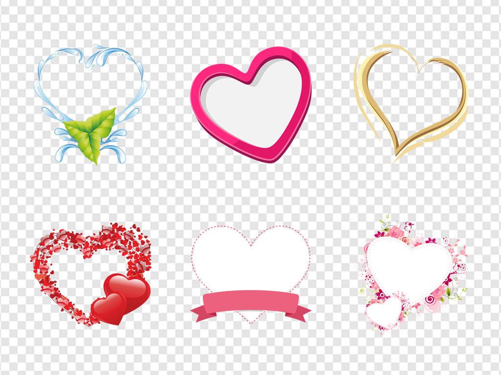 文本框婚礼请柬小报边框相册边框心心形图案