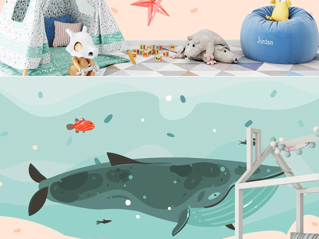 北欧创意手绘海洋鲸鱼插画儿童房背景墙壁纸