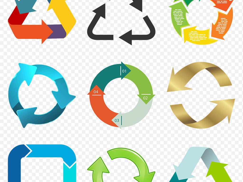 商务科技办公ppt循环箭头立体海报素材背景图片png