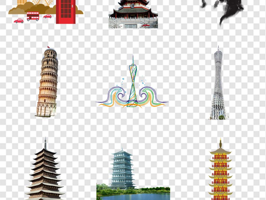 古建筑雷峰塔卡通手绘塔宝塔实物海报素材