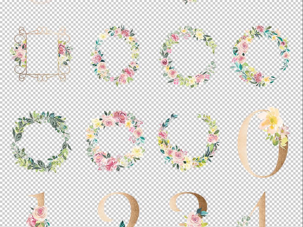手绘水彩手绘花卉花卉花朵边框素材贴纸包装手绘树叶