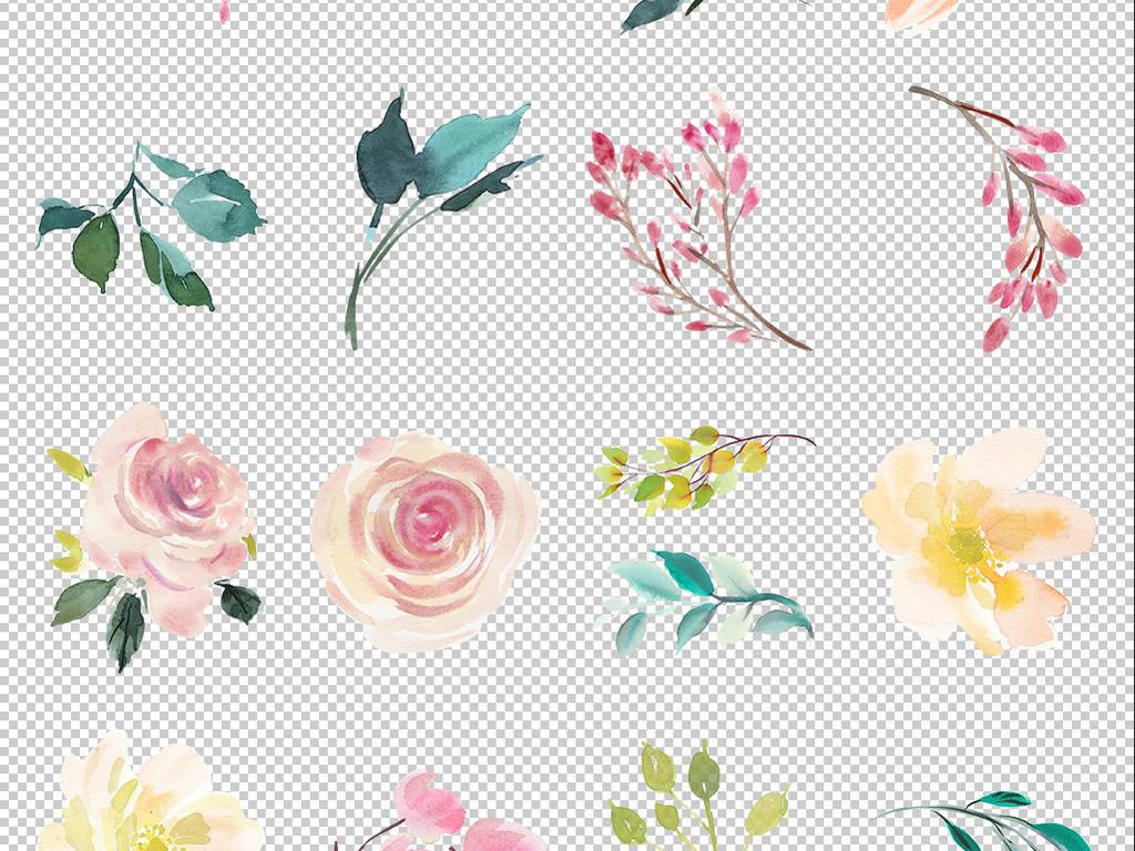 免抠元素 自然素材 花卉 > 手绘水彩森系花朵花环剪贴画婚礼请柬卡片