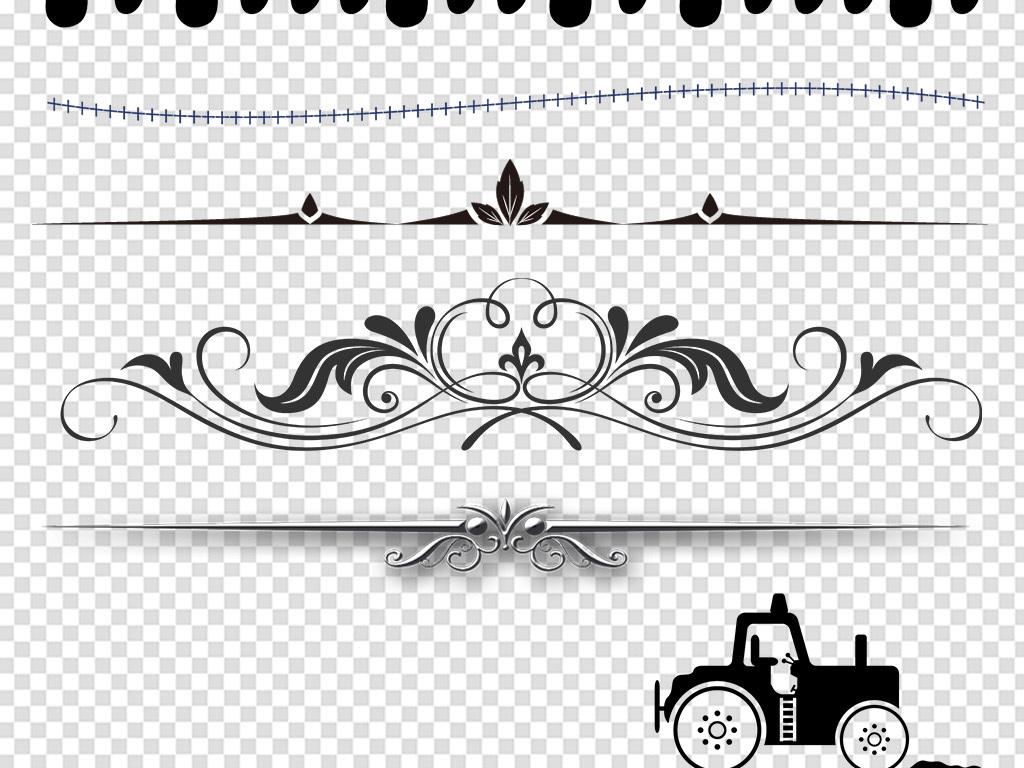 免抠元素 花纹边框 卡通手绘边框 > 卡通小清新水墨欧式分割线分界线
