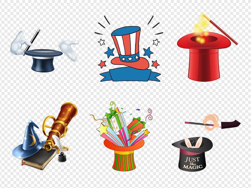 50款卡通手绘儿童魔术帽表演帽子海报png素材
