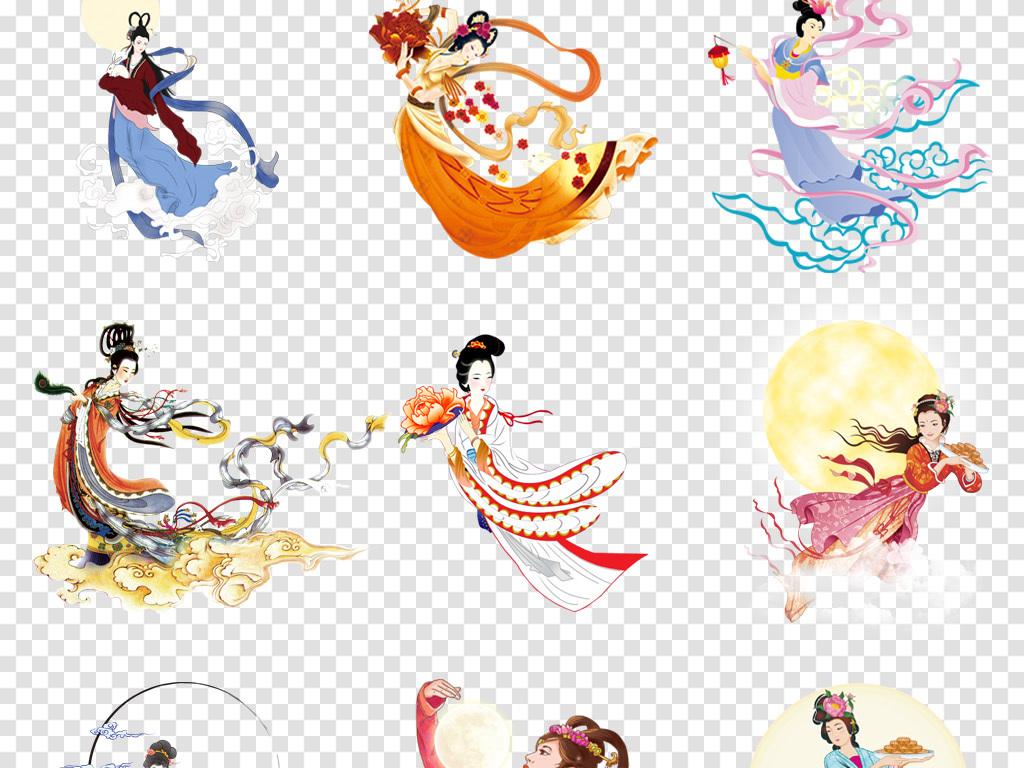 玉兔手绘嫦娥美女工笔画月饼月饼包装中秋节素材嫦娥背景图片中秋节
