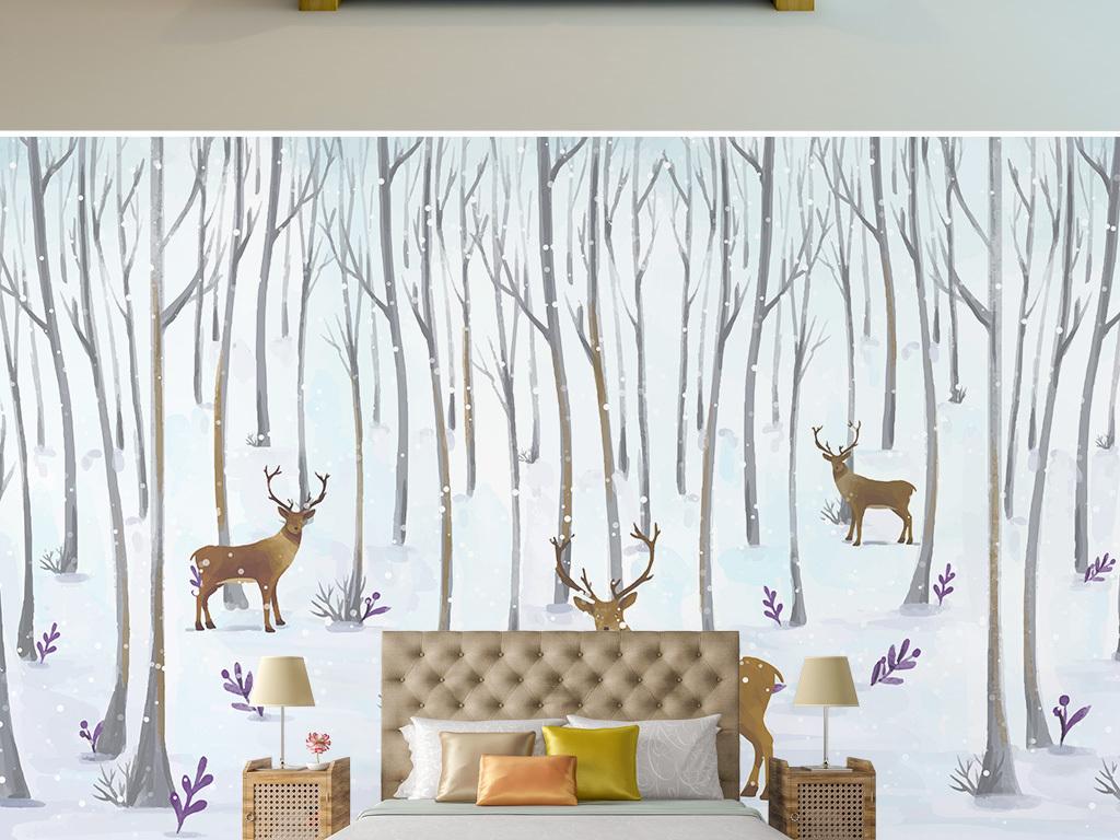 背景墙 电视背景墙 手绘电视背景墙 > 冬天丛林梅花鹿背景墙  素材