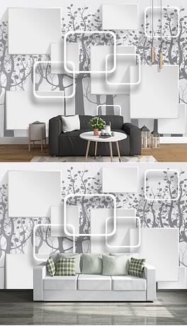 3D丛林手绘电视背景墙-PSD背景框框 PSD格式背景框框素材图片