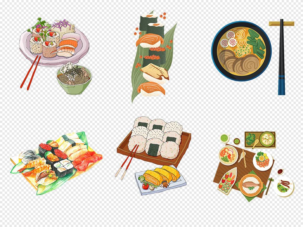 日本料理美食海鲜寿司卡通手绘美味png素材