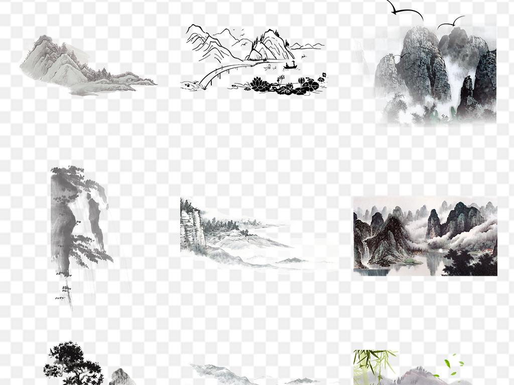 中国风水墨山水矢量风景插画免抠png素材