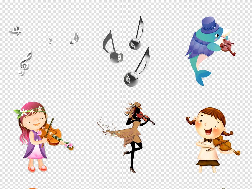卡通拉小提琴人物png免扣元素图片