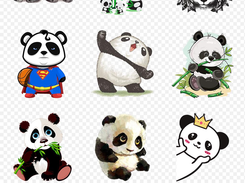 免抠元素 自然素材 动物 > 可爱手绘卡通熊猫海报素材背景图片png