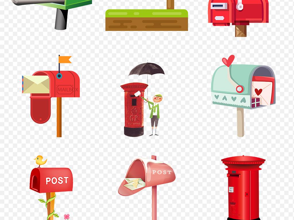 卡通手绘信箱邮箱海报素材背景图片png